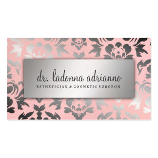 Rosa del polvo de la plata del damasco de 311 tarjetas de visita