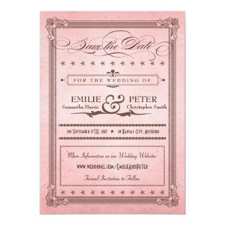 Rosa del poster del vintage y reserva de Brown la Invitación 12,7 X 17,8 Cm