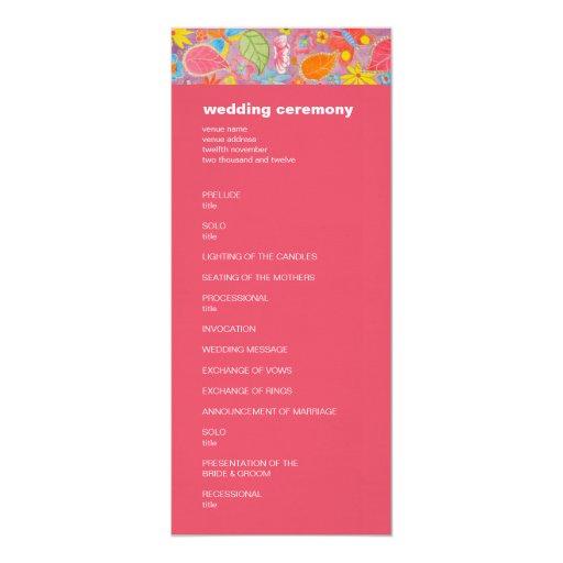"""Rosa del programa del boda de Ganesh Invitación 4"""" X 9.25"""""""