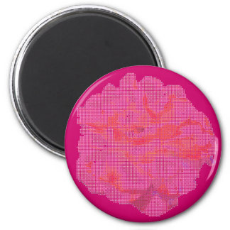 Rosa del punto pequeno subió imán redondo 5 cm