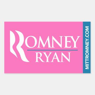 Rosa del rectángulo del pegatina del logotipo de R