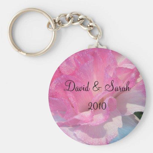 Rosa del regalo de boda llaveros personalizados