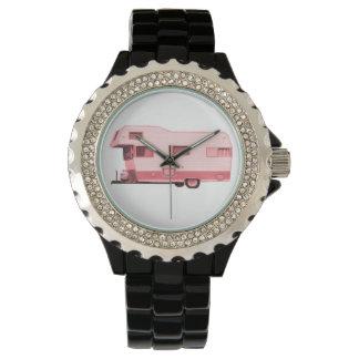 Rosa del remolque del viaje del vintage rv relojes de pulsera