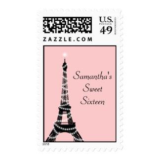 Rosa del sello de la torre Eiffel del dulce diecis
