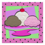 Rosa del Shoppe/del helado Impresiones