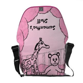Rosa del sitio de niño personalizado bolsa de mensajeria