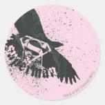 Rosa del superhombre con el pájaro etiquetas redondas
