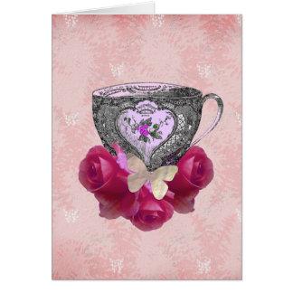 Rosa del té y de rosas tarjeta