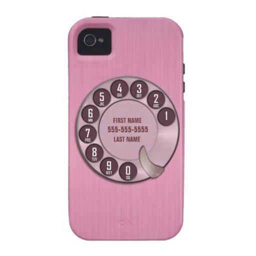 Rosa del teléfono de dial rotatorio de la escuela iPhone 4 carcasa