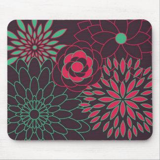 Rosa del trullo y flores modernas de Brown Mouse Pads