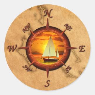 Rosa del velero y de compás etiqueta redonda