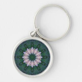 Rosa del verde del llavero de la mandala de Hagi