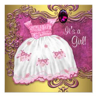 """Rosa del vestido del bebé y fiesta de bienvenida invitación 5.25"""" x 5.25"""""""