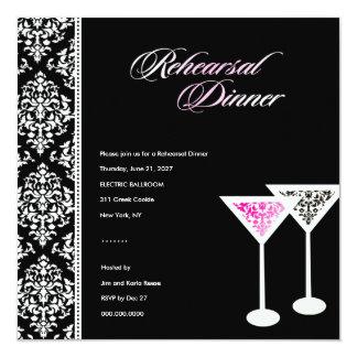 """rosa del vidrio del damasco de la cena invitación 5.25"""" x 5.25"""""""