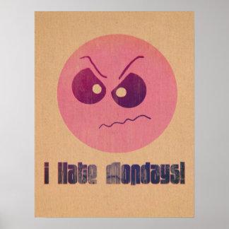 Rosa del vintage odio el poster del smiley de lune