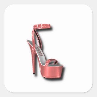 Rosa del zapato de las señoras del tacón alto pegatina cuadrada