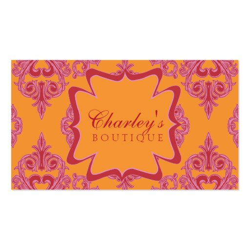 Rosa dinámico, naranja y rojo del damasco tarjetas de visita