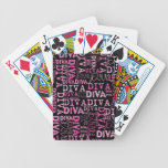 Rosa, diva, texto negro cartas de juego