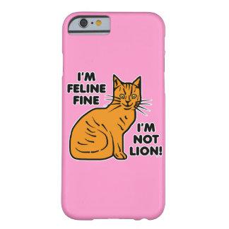 Rosa divertido del retruécano del gato funda de iPhone 6 barely there