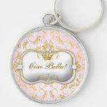 Rosa divino de oro de 311 Ciao Bella Llavero Personalizado