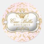 Rosa divino de oro de 311 Ciao Bella Pegatinas Redondas