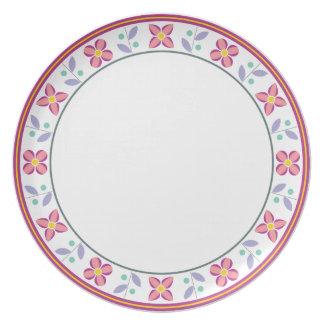 Rosa doble del estampado de plores platos para fiestas