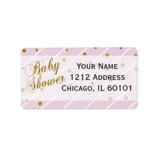 Rosa dulce de la niña y fiesta de bienvenida al etiqueta de dirección