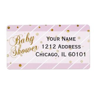 Rosa dulce de la niña y fiesta de bienvenida al etiquetas de envío