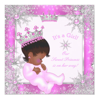 """Rosa dulce del copo de nieve de la princesa fiesta invitación 5.25"""" x 5.25"""""""