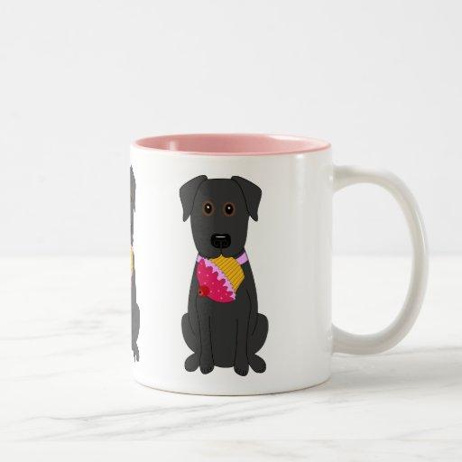 Rosa dulce del perro taza dos tonos