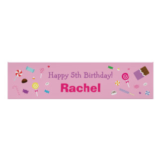 Rosa dulce, fiesta de cumpleaños del caramelo póster