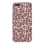 Rosa e impresión del guepardo de Brown iPhone 5 Cárcasas