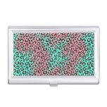 Rosa e impresión inversa del guepardo del leopardo cajas de tarjetas de presentación
