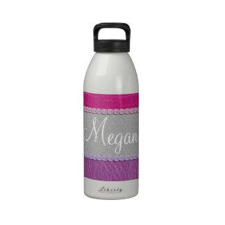 Rosa e impresión reluciente púrpura botellas de beber