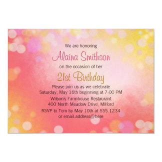 Rosa e invitación de la fiesta de cumpleaños de