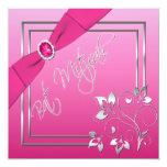 Rosa e invitación floral de Mitzvah del palo de la