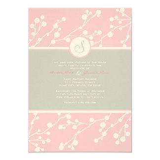Rosa e invitación floral gris del boda del