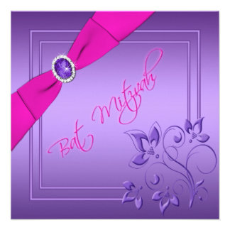 Rosa e invitación floral púrpura de Mitzvah del pa