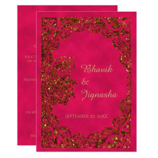 Rosa e invitación india del boda del pavo real del