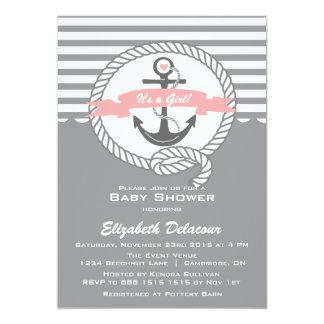 Rosa e invitación náutica gris de la fiesta de