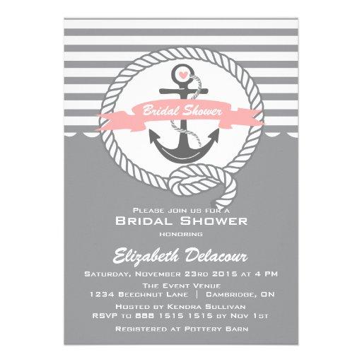 Rosa e invitación nupcial náutica gris de la ducha