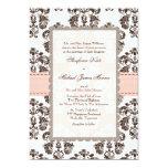 Rosa e invitaciones del boda del damasco de Brown Invitacion Personal