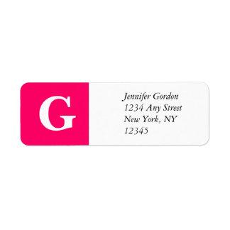 Rosa elegante de la etiqueta del remite de G del Etiquetas De Remite