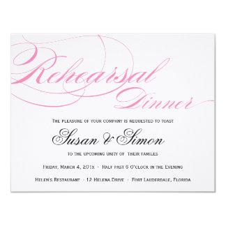 Rosa elegante de la invitación de la cena del