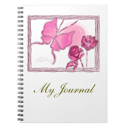 Rosa elegante de la mariposa y de rosas cuaderno