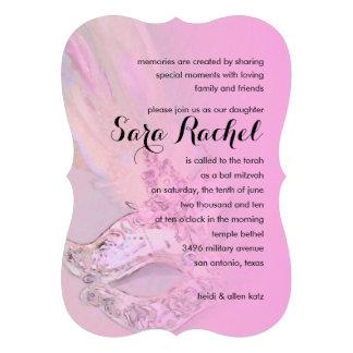 Rosa elegante de la máscara de Mitzvah del palo Invitacion Personalizada