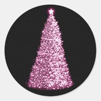 Rosa elegante del árbol de navidad pegatinas redondas