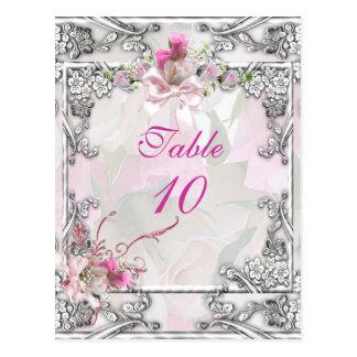 Rosa elegante del boda de la tarjeta del número de tarjetas postales