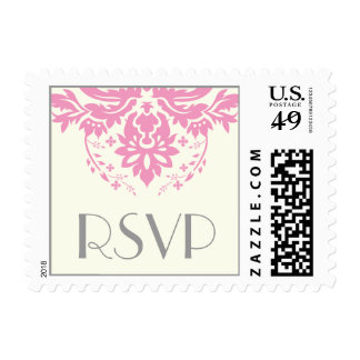 Rosa elegante del damasco, gris, RSVP que se casa Sellos