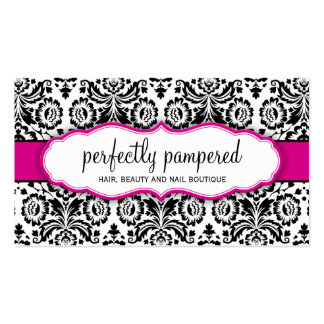 Rosa elegante del fuschia del negro del damasco de tarjetas de visita